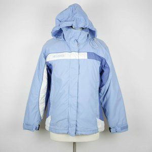 COLUMBIA Blue and White Heavy Winter Hooded Coat